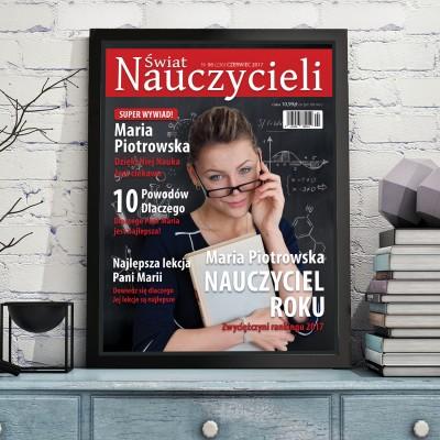 Okładka magazynu dla nauczycieli w czarnej ramce z dowolnym zdjęciem i personalizacją na prezent