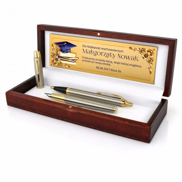 pióro i długopis Parker w etui dla nauczyciela