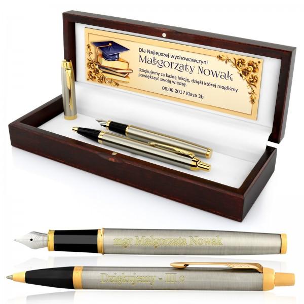 zestaw pióro i długopis z grawerem na podziękowanie dla nauczyciela