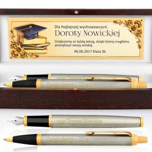 pióro i długopis parker z grawerem w etui dla nauczyciela