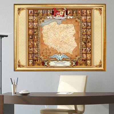 Mapa Polski z pocztem królów na prezent dla nauczyciela z personalizacją