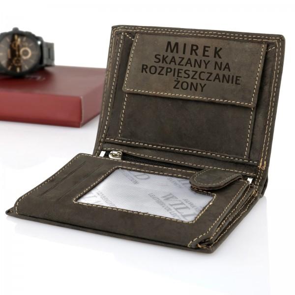 portfel z grawerem