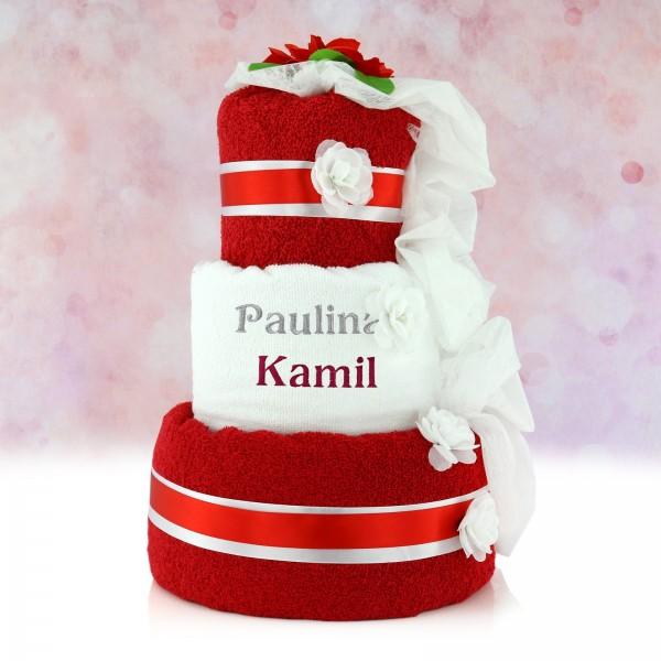 tort z ręczników z haftem imion