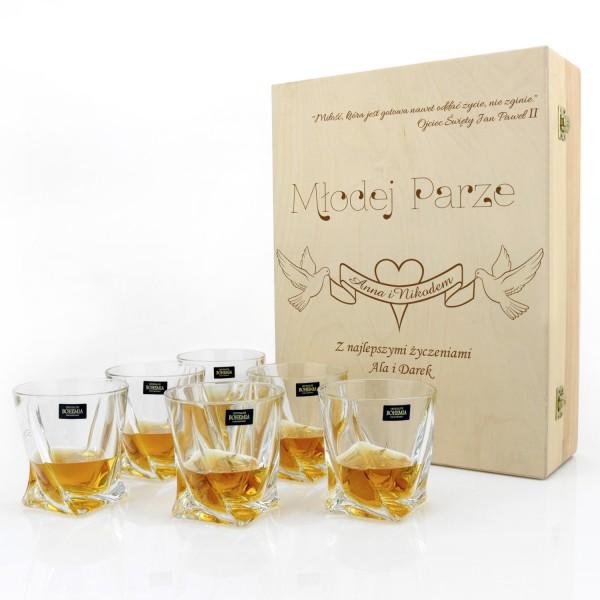 grawerowany komplet 6 szklanek w drewnianym etui na prezent z okazji ślubu