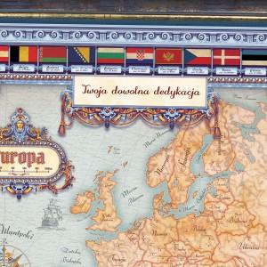 mapa europy w ramie z dowolną dedykacją dla kapłana
