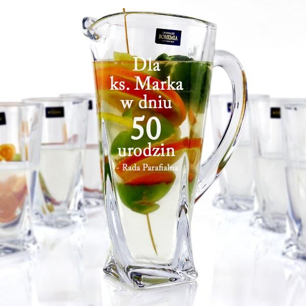 dzbanek + 6 szklanek z grawerem dla księdza