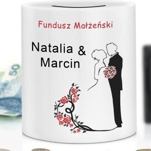 skarbonka z dedykacją fundusz małżeński na prezent ślubny