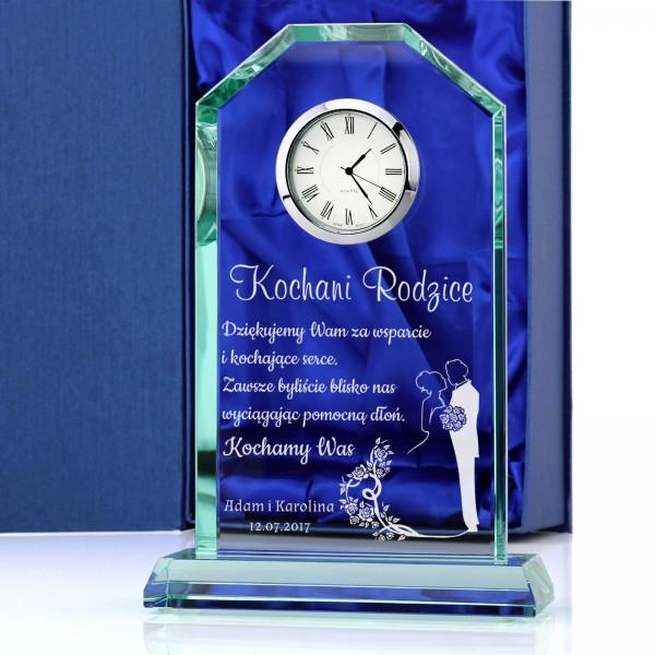 statuetka szklana z zegarem na podziękowanie dla rodziców