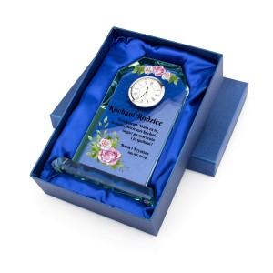 personalizowana szklana statuetka zegar na podziękowania dla rodziców