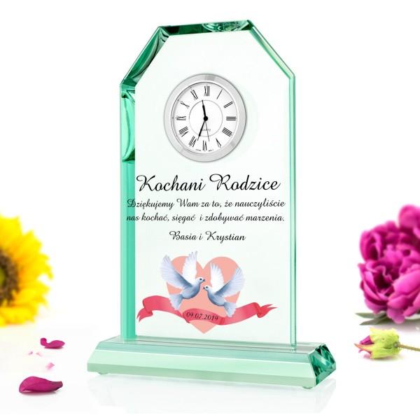 personalizowana szklana statuetka z zegarem na podziękowania dla rodziców