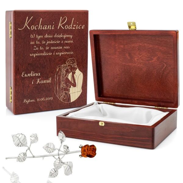 róża z bursztynem w pudełku z grawerem na podziękowania dla rodziców