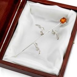 róża ze srebra na podziękowanie dla mamy