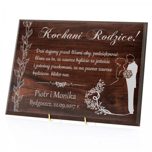 personalizowany podkład drewniany na podziękowanie dla rodziców