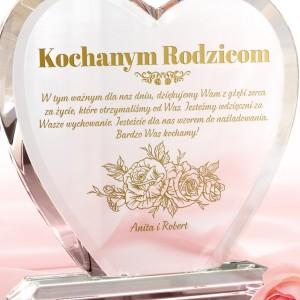 personalizowana szklana statuetka dla rodziców na podziękowania