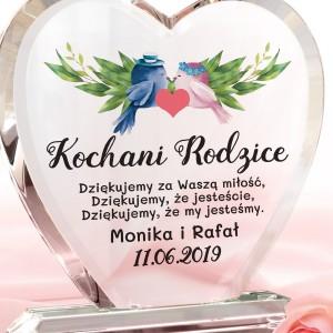 personalizowana statuetka serce na podziękowania dla rodziców na ślub
