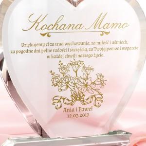 podziękowanie weselne dla mamy szklana statuetka z grawerem