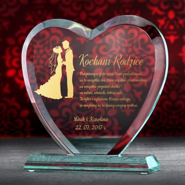 szklana statuetka serce z grawerem na podziękowanie od pary młodej