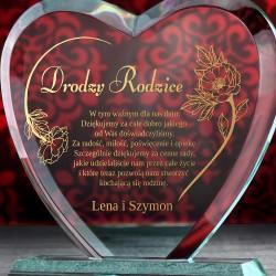 statuetka serce ze szkła z grawerem dla rodziców