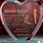 trofeum szklane serce z personalizacją dla rodziców