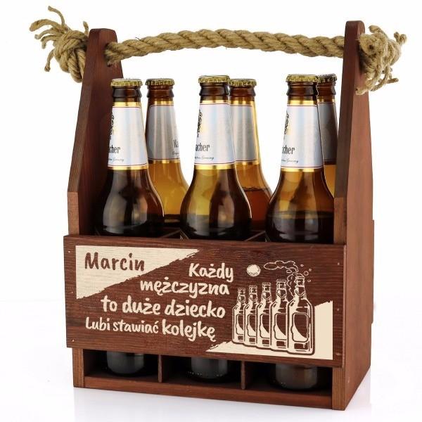 Personalizowane nosidło na alkohol z drewna na prezent dla chłopaka