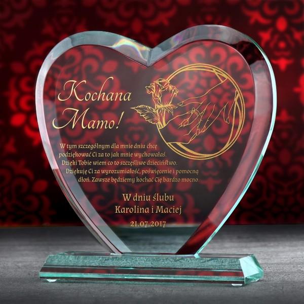 statuetka serce ze złoconym grawerem na podziękowanie dla mamy