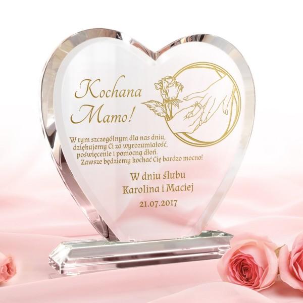 szklana statuetka z grawerem na podziękowanie weselne dla mamy