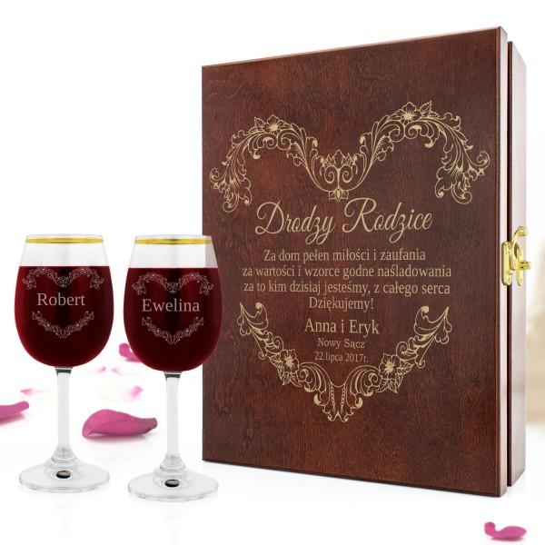 personalizowana skrzynka na wino z kieliszkami na podziękowanie dla rodziców