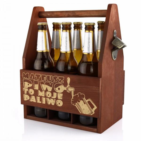 Skrzynka na alkohol z otwieraczem do butelek z grawerem dedykacji na prezent