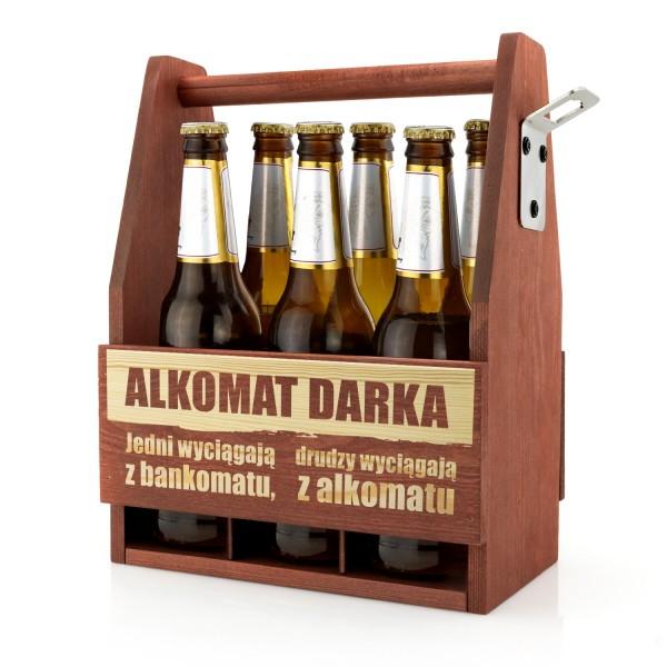 grawerowana skrzynka na piwo ze śmiesznym grawerem alkomat