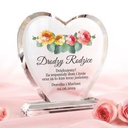 szklane serce z nadrukiem na podziękowania dla rodziców
