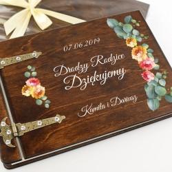 drewniany album z nadrukiem na podziękowania dla rodziców