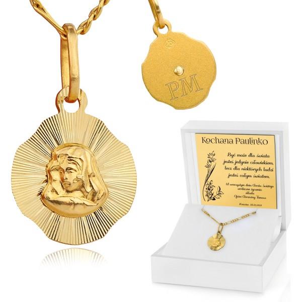 złoty medalik w etui z grawerem