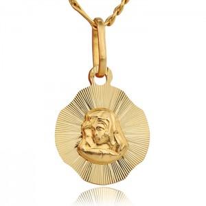 złoty medalik z Matka Boską z grawerem
