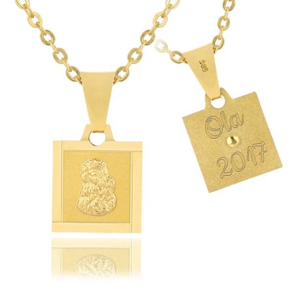 złoty medalik z matką boską z grawerem imienia na prezent