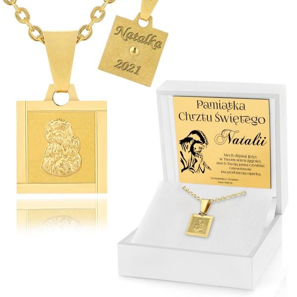 złota biżuteria z grawerem na chrzest