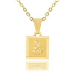 złoty medalik z matką boską na prezent z grawerem dedykacji dla dziecka