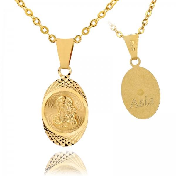 medalik złoty z Matką Boską z grawerem dedykacji na prezent