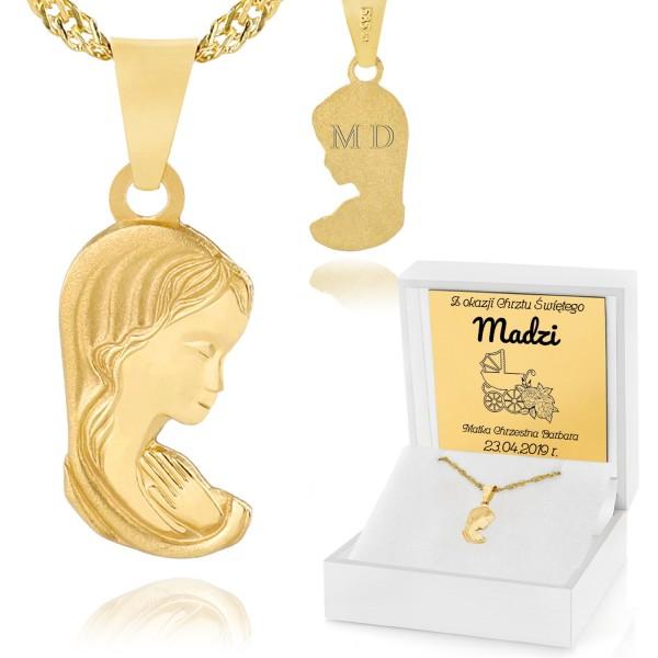 złoty łańcuszek z medalikiem dla dziewczynki w pudełku z grawerem