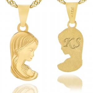 złoty medalik z grawerem na prezent na chrzciny