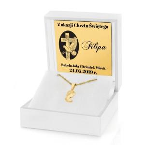 złoty łańcuszek dla chłopca na chrzest w białym pudełku