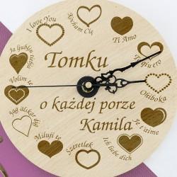 zegar drewniany z grawerem na prezent na walentynki