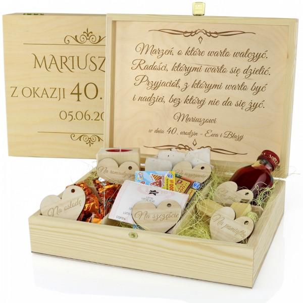 pudełko na prezent na 40 urodziny z grawerem dedykacji