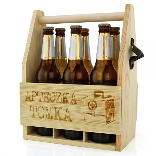 drewniana skrzynka na piwo z otwieraczem dla faceta