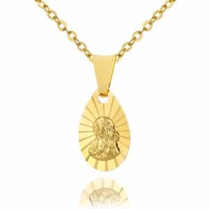 złoty medalik z Matką Boską na łańcuszku