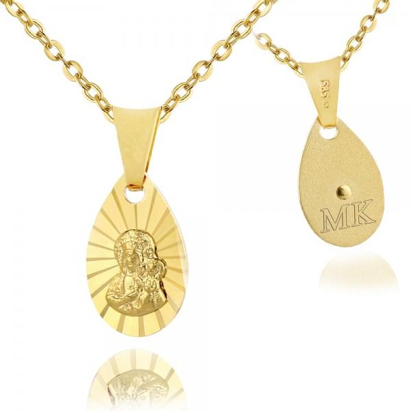 złoty medalik na łańcuszku z grawerem inicjałów na prezent
