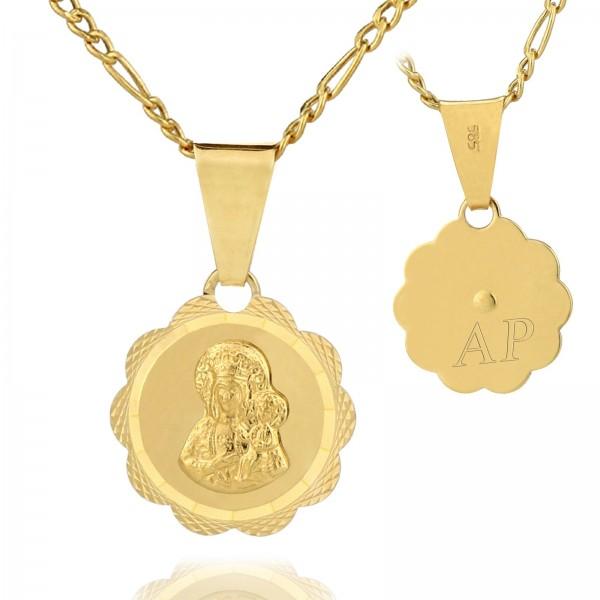 złoty łańcuszek z medalikiem z grawerem inicjałów