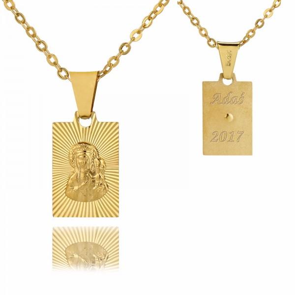 złoty medalik Matka Boska z grawerem