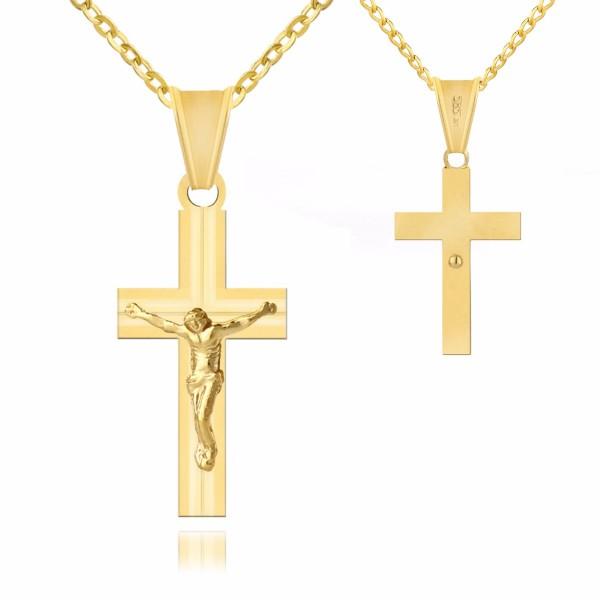 złoty krzyżyk  na łańcuszku na prezent na chrzest z personalizacją