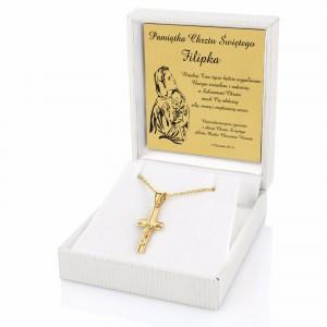 komplet złotej biżuterii w białym etui na prezent
