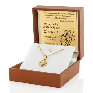 złoty medalik na prezent na pamiątkę chrztu